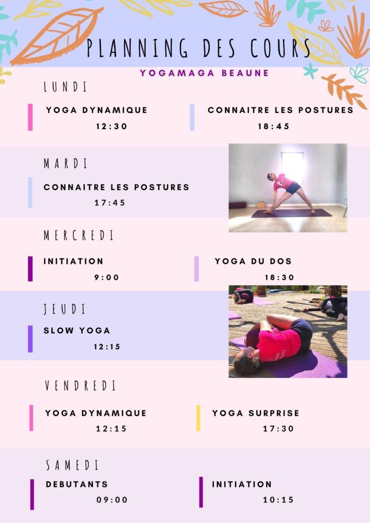 Planning Cours Yogamaga
