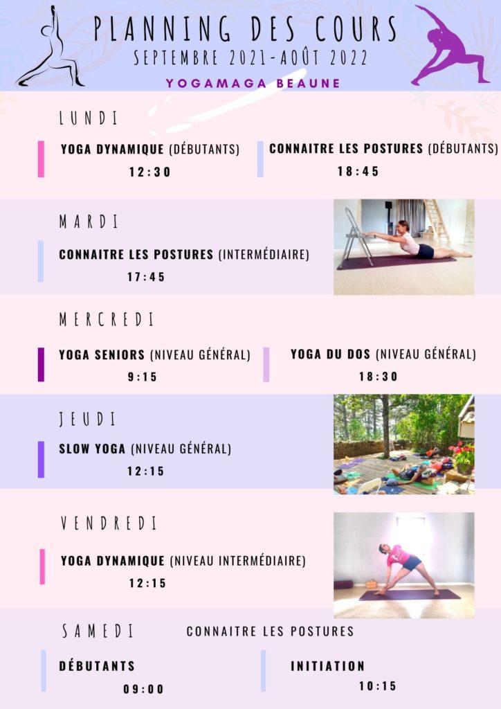 Planning cours yoga à Beaune 2021-2022